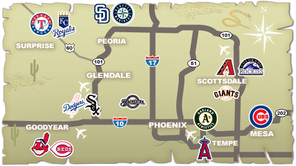 Arizona Spring Training Cactus League Map