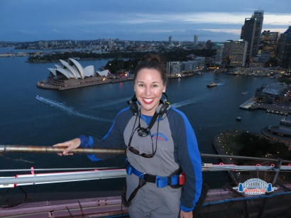 Kelli in Sydney, Australia on Harbor Bridge Climb